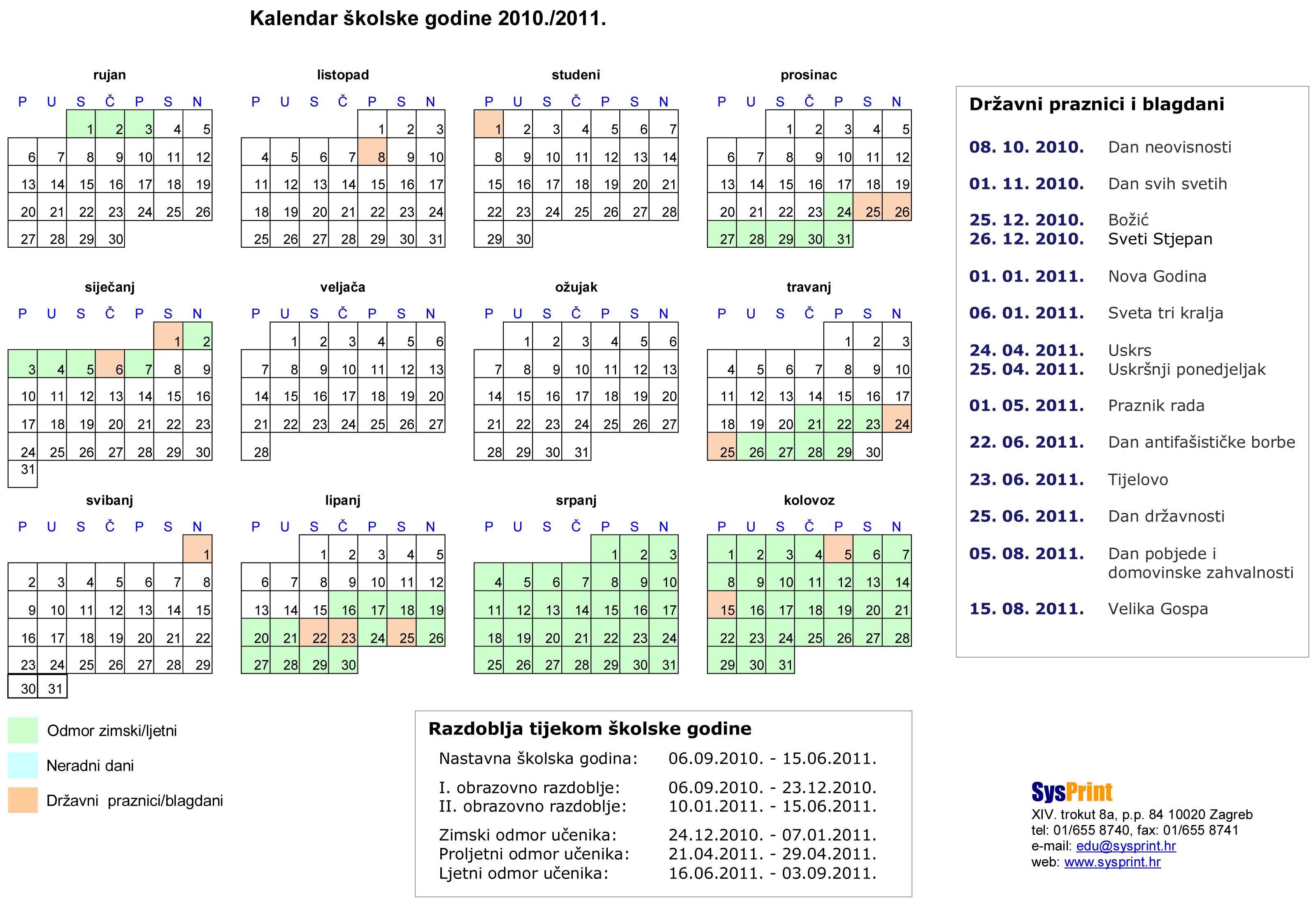 Kalendar školske godine preuzet od SysPrint.